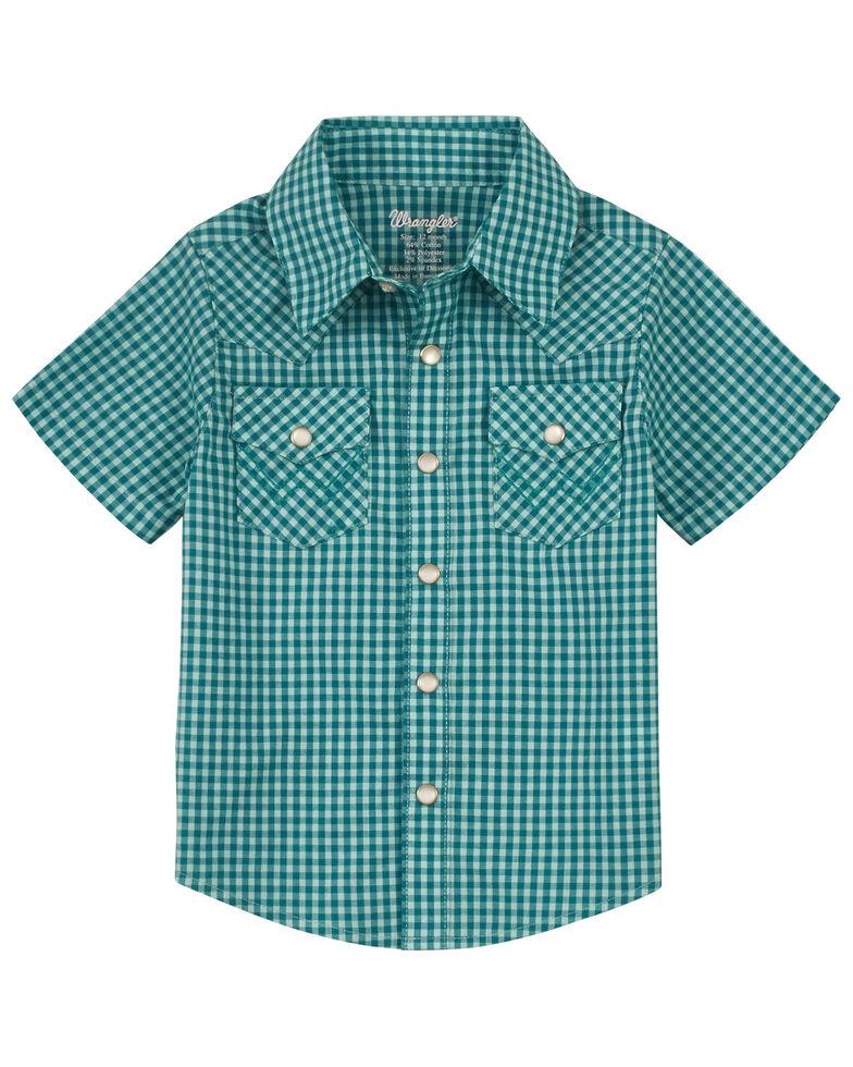Wrangler Infant & Toddler Boys' Teal Small Plaid Short Sleeve Snap Western Shirt , Teal, hi-res