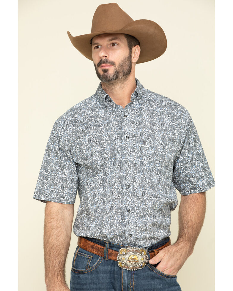 Tuf Cooper Men's Competition White Stretch Paisley Print Short Sleeve Western Shirt , Blue, hi-res