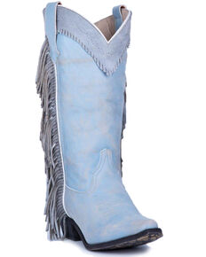 Laredo Women's Blue Side Fringe Western Boots - Snip Toe, Blue, hi-res