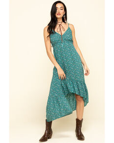 Angie Women's Green Ditsy Floral V-Neck Hi Low Dress , Teal, hi-res