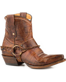 Roper Women's Brown Selah Leather Booties - Snip Toe , Brown, hi-res