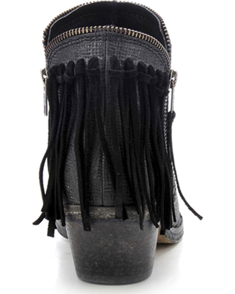 Circle G Women's Fringe Zip Up Fashion Booties, Black, hi-res