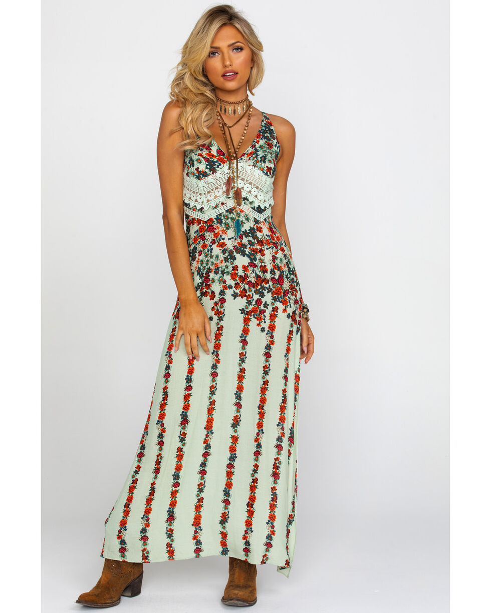 Free People Women's Claire Printed Maxi Dress, Blue, hi-res