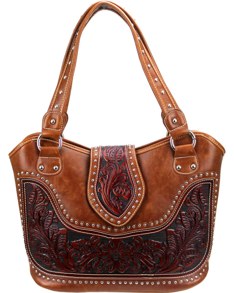 Montana West Women's Genuine Tooled Leather Concealed Carry Handbag , Brown, hi-res