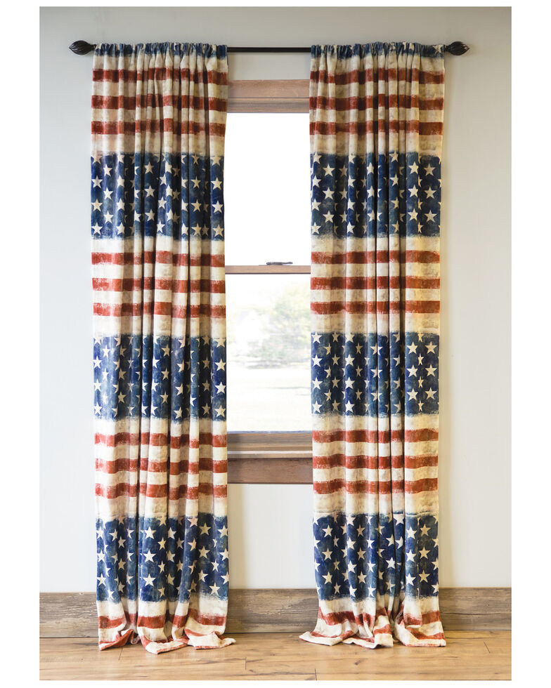 Carstens Home Wrangler Stars & Stripes USA American Flag Curtain Panels - Set Of 2 , Blue, hi-res