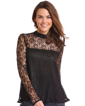 Panhandle Women's Allover Lace Top  , Black, hi-res