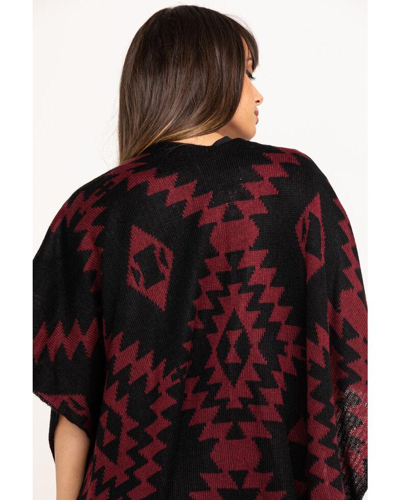 Shyanne Women's Silver Aztec Print Tassel Trim Fashion Shawl , , hi-res