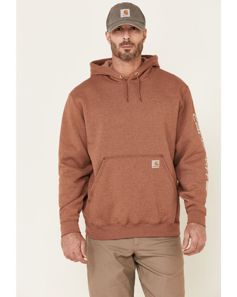 Carhartt Men's Heather Red Signature Sleeve Logo Hooded Work Sweatshirt , Heather Red, hi-res