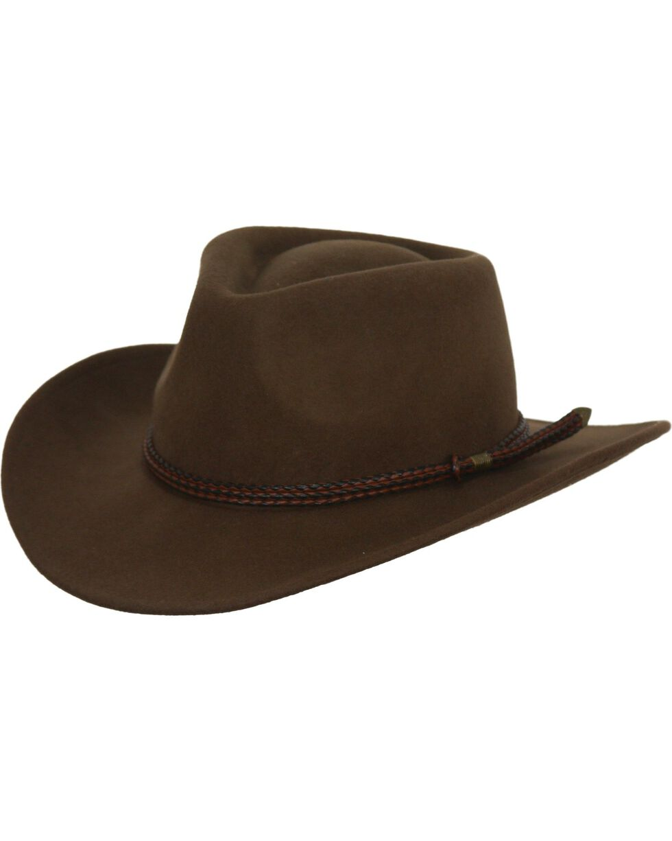 Outback Trading Co. Broken Hill Crushable Australian Wool Hat, Brown, hi-res