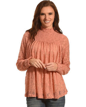 New Direction Sport Women's Mauve Ruched Lace Top , Mauve, hi-res