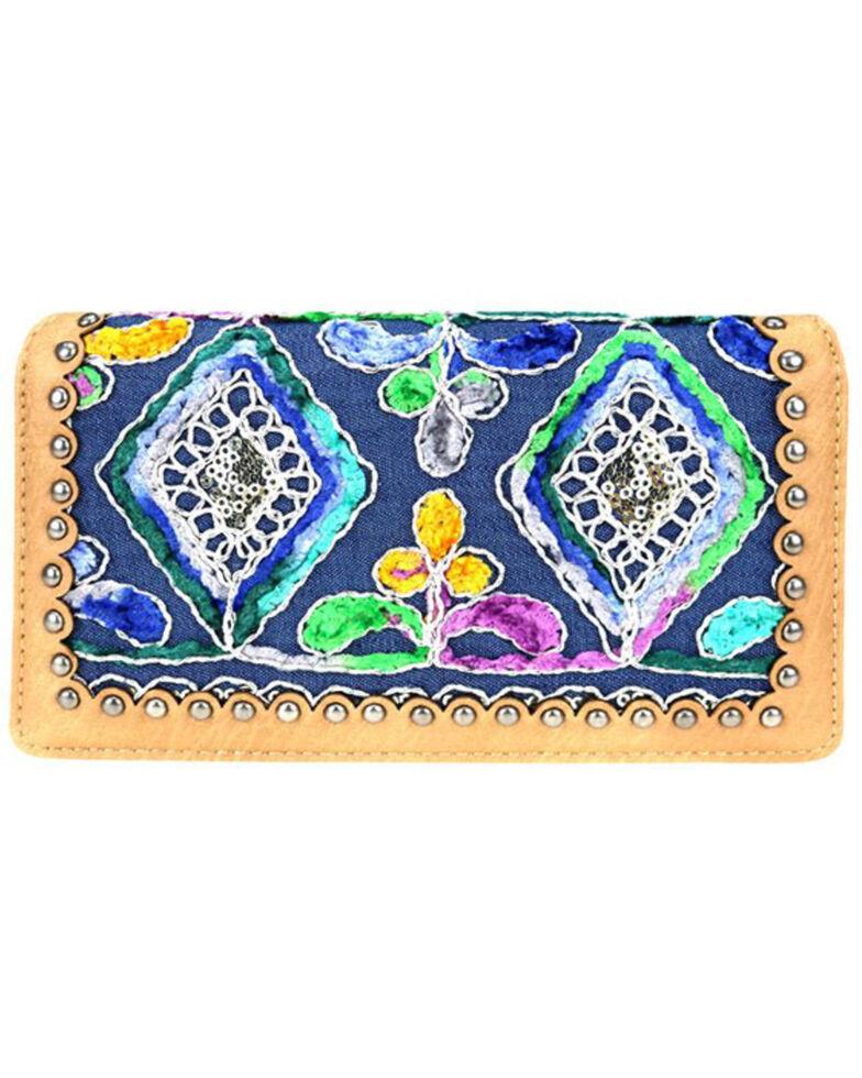 Montana West Women's Embroidered Wallet, Dark Brown, hi-res