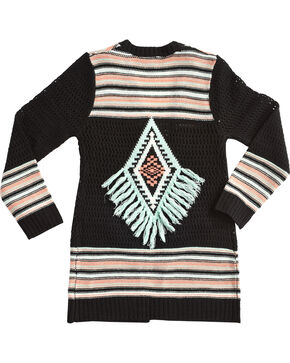 Derek Heart Girls' Long Sleeve Tribal Striped Cardigan, Blue, hi-res