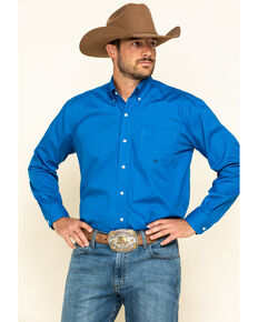 Roper Men's Amarillo Blue Ridge Solid Long Sleeve Western Shirt , Blue, hi-res