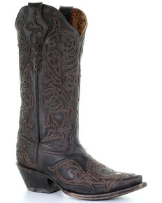 Corral Women's Tobacco Overlay Embroidered Leather Western Boots - Snip Toe, Brown, hi-res
