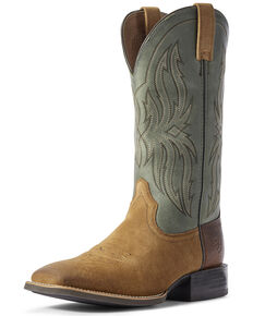 Ariat Men's Peanut Sport Rustler Western Boots - Wide Square Toe, Brown, hi-res
