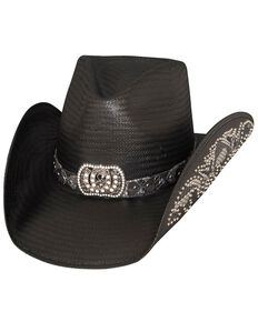 Bullhide Women's Cowgirl Fantasy Straw Hat, Black, hi-res