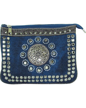 Savana Women's Denim Faux Leather Studded Crossbody , Blue, hi-res