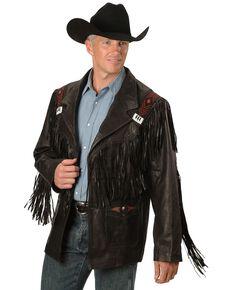 Kobler Mohawk Fringed Leather Jacket, Black, hi-res