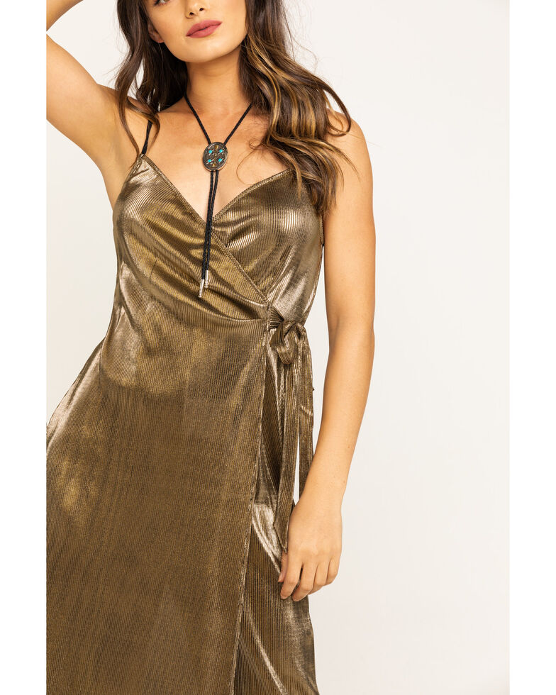Show Me Your Mumu Women's Pleated Gold Jane Jumpsuit, Gold, hi-res