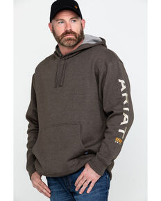 Ariat Men's Heather Bark Rebar Graphic Work Hooded Sweatshirt , Bark, hi-res