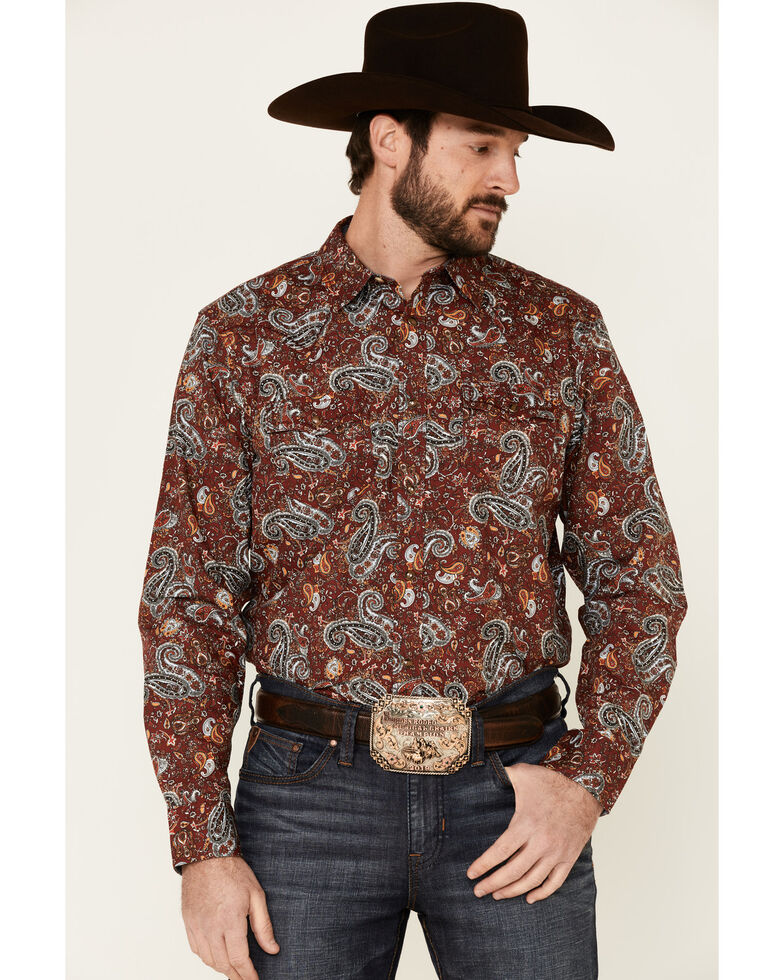 Cody James Men's Wild Ride Paisley Print Long Sleeve Western Shirt , Burgundy, hi-res