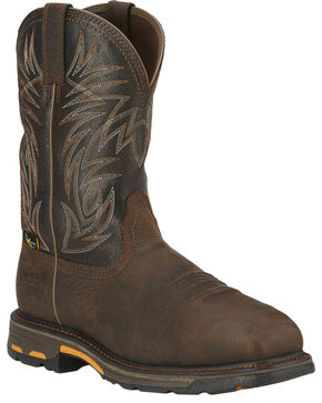 Ariat Men's Workhog Waterproof Comp Toe Met Guard Work Boots, Brown, hi-res