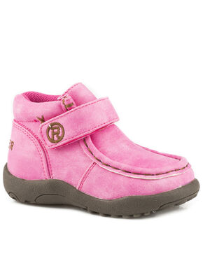 Roper Infant Girls' Moc Pink Faux Leather Cowbabies Chukkas - Moc Toe, Pink, hi-res