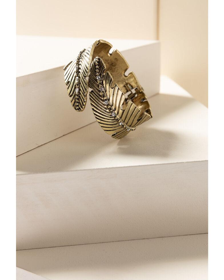 Shyanne Women's Gilded Gold Feather Bling Bracelet, Gold, hi-res