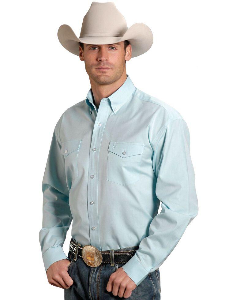 Stetson Solid Button Oxford Shirt, Aqua, hi-res