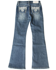 Grace in LA Girls' Medium Wash Aztec Pocket Bootcut Jeans, Blue, hi-res