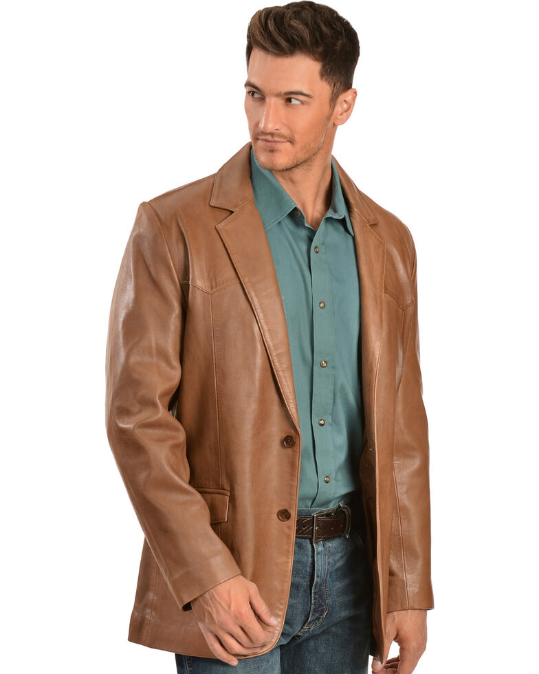 Scully Lamb Leather Blazer - Regular, Antique Brown, hi-res