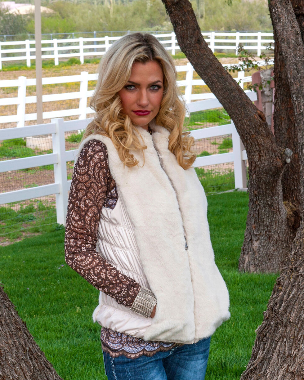 Scully Honey Creek Reversible Faux Fur Vest, Ivory, hi-res