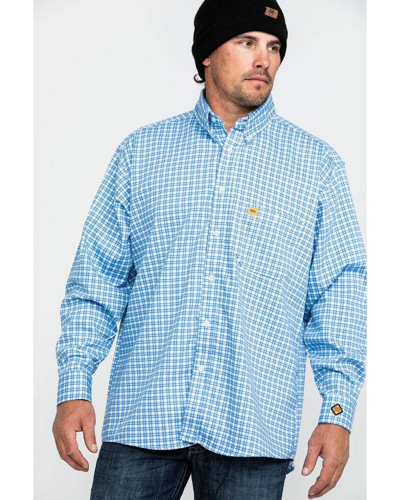 Wrangler 20X Men's FR Small Check Plaid Long Sleeve Work Shirt -Tall , Navy, hi-res