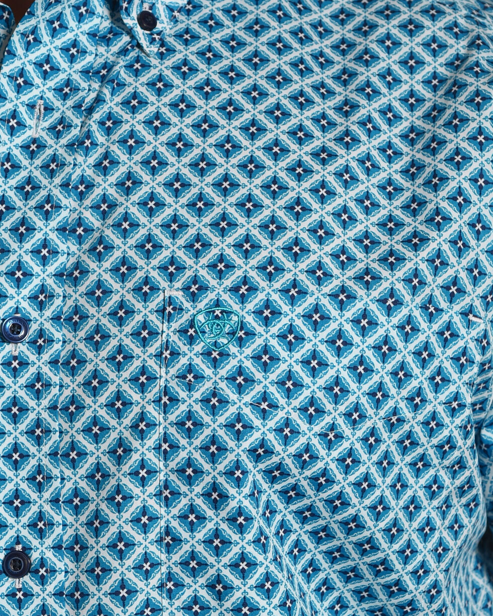 Ariat Men's Casual Series Godwin Print Long Sleeve Button Down Shirt, Turquoise, hi-res