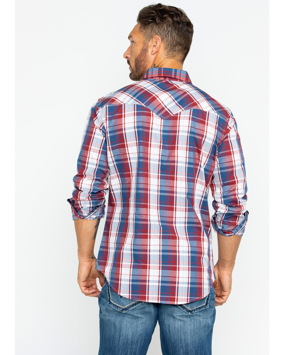 Wrangler Men's Retro Premium Plaid Long Sleeve Western Shirt , , hi-res