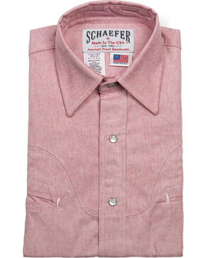 Schaefer Outfitter Men's Red Vintage Chisholm Chambray Shirt , Light Red, hi-res