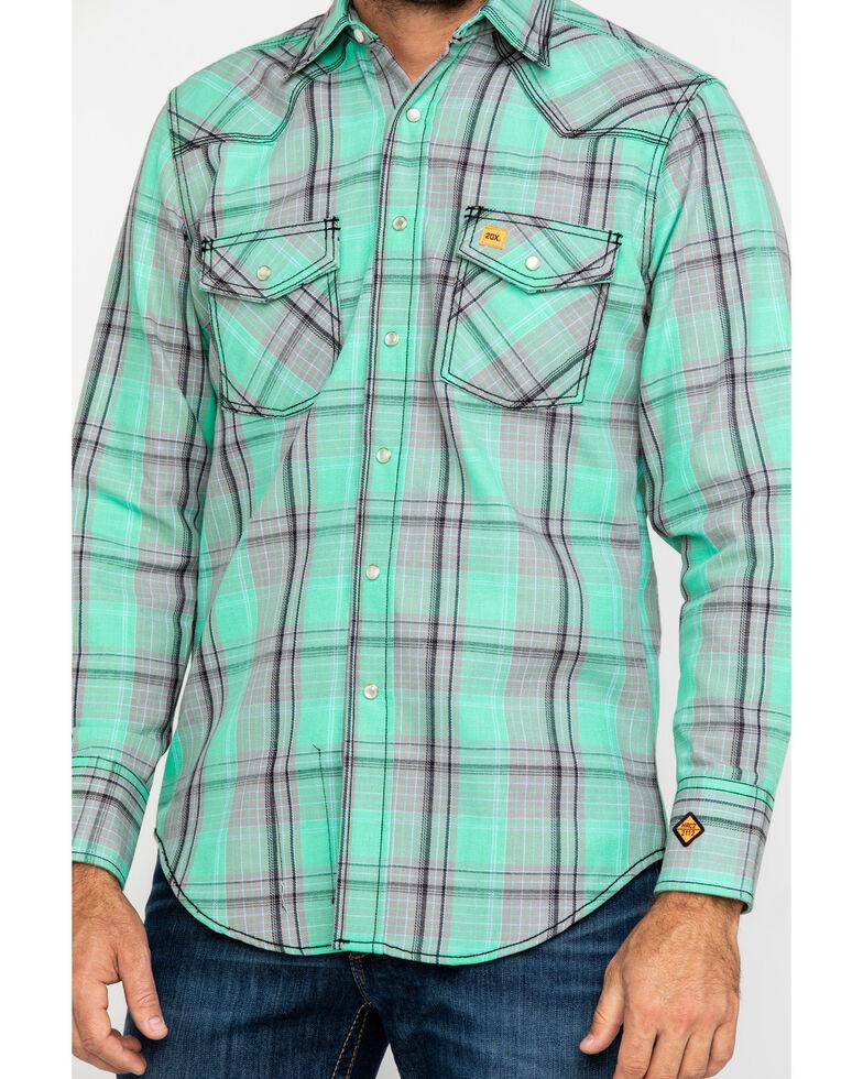 Wrangler 20X Men's FR Green Plaid Long Sleeve Work Shirt - Big, Green, hi-res
