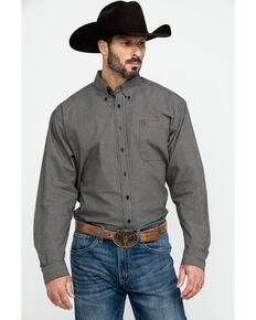 Cinch Men's Black Small Check Plaid Long Sleeve Western Shirt - Big , Black, hi-res