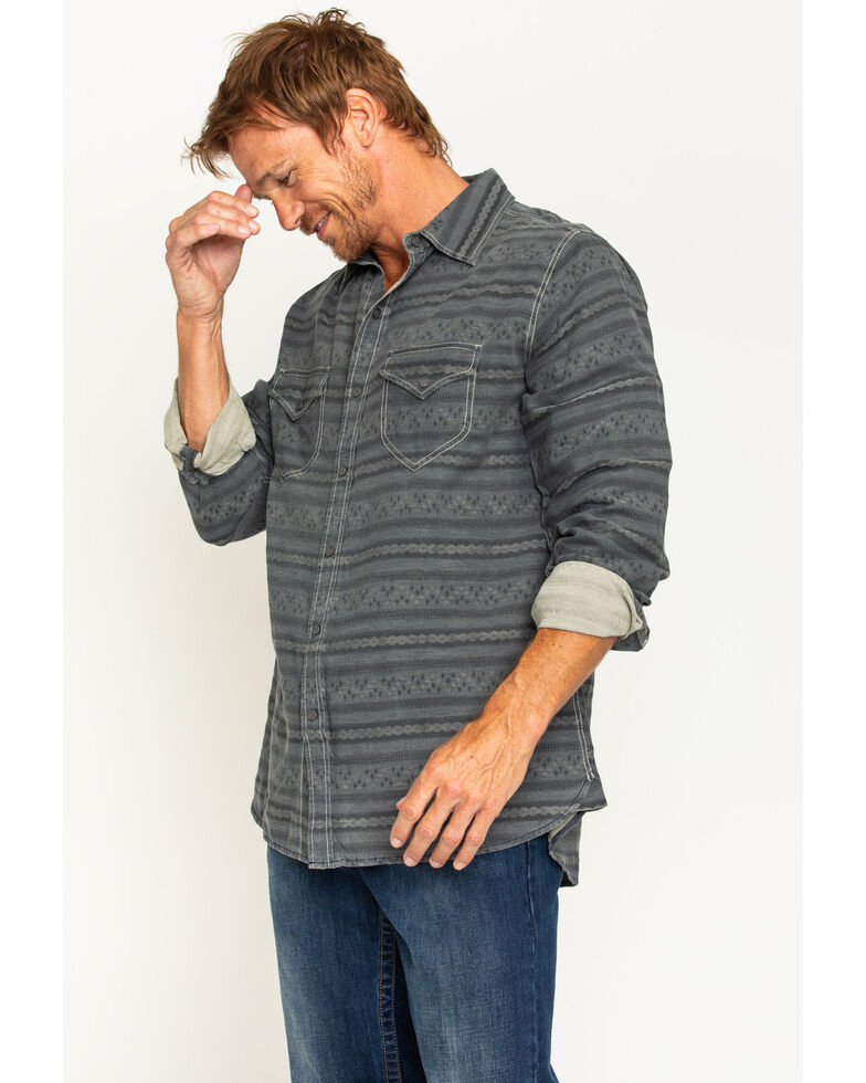 Ryan Michael Men's Horizontal Stripe Jacquard Western Shirt, Dark Blue, hi-res