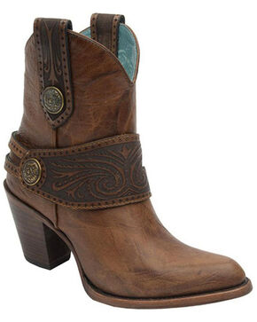 Corral Women's Engraved Harness Western Booties, Tan, hi-res