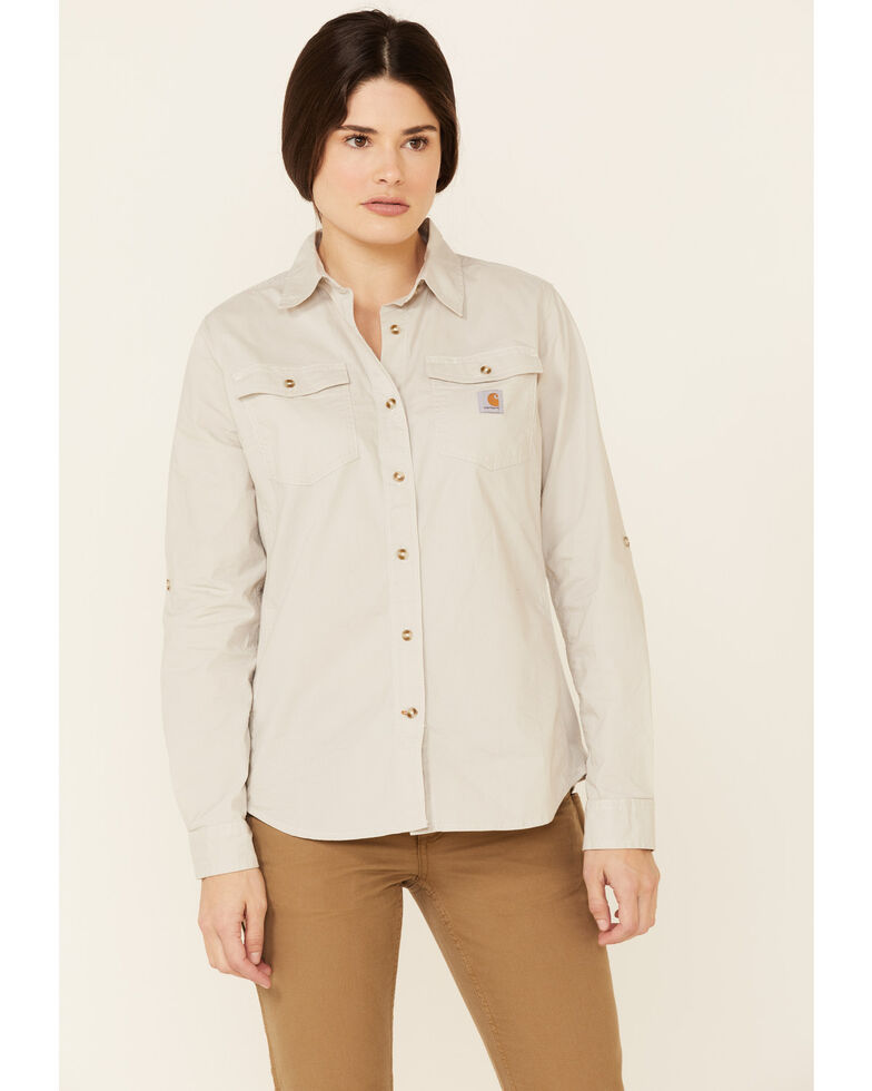 Carhartt Women's Malt Rugged Flex Bozeman Long Sleeve Button Work Shirt  , Light Yellow, hi-res