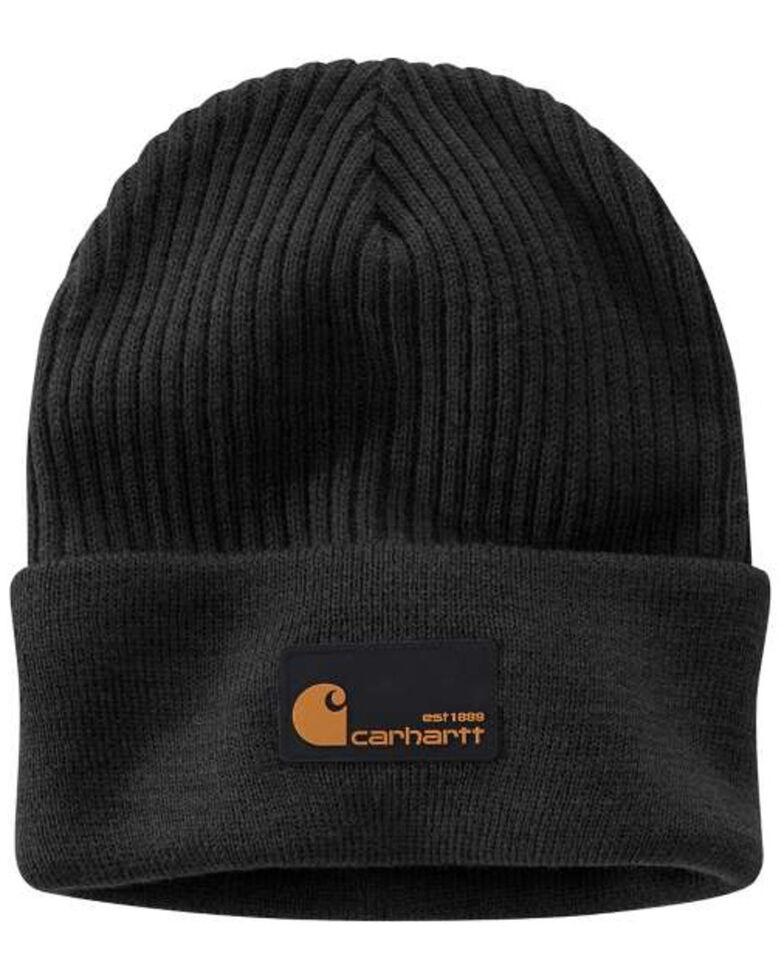 Carhartt Men's Black Acrylic Rib Knit Beanie , Black, hi-res