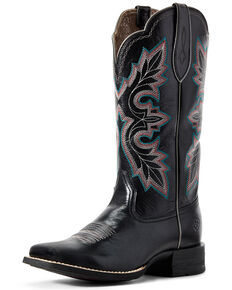 Ariat Women's Breakout Jackal Western Boots - Wide Square Toe, Black, hi-res