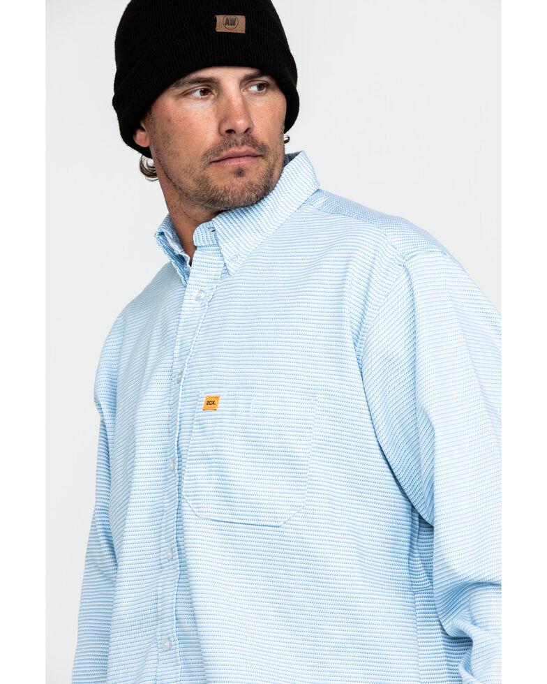 Wrangler 20X Men's FR Small Striped Long Sleeve Work Shirt - Tall , Blue, hi-res