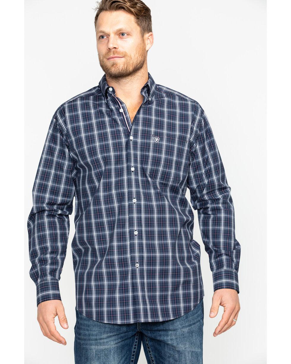 Ariat Men's Daytona Plaid Long Sleeve Western Shirt , Navy, hi-res