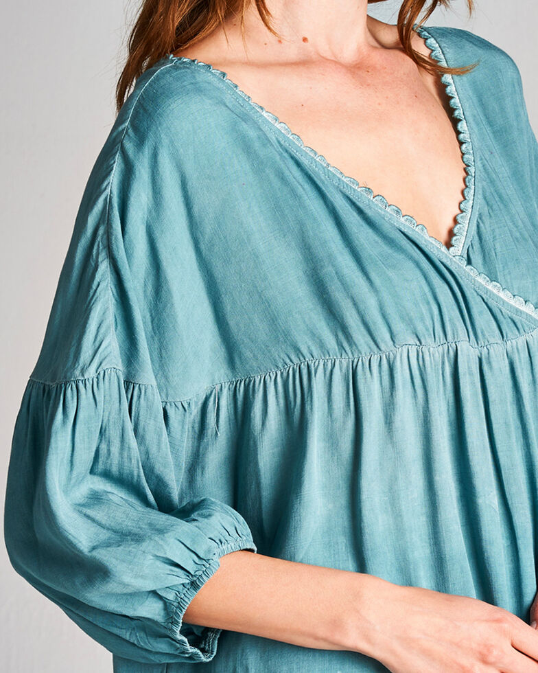 Hyku Women's Blue Color Washed Top , Blue, hi-res