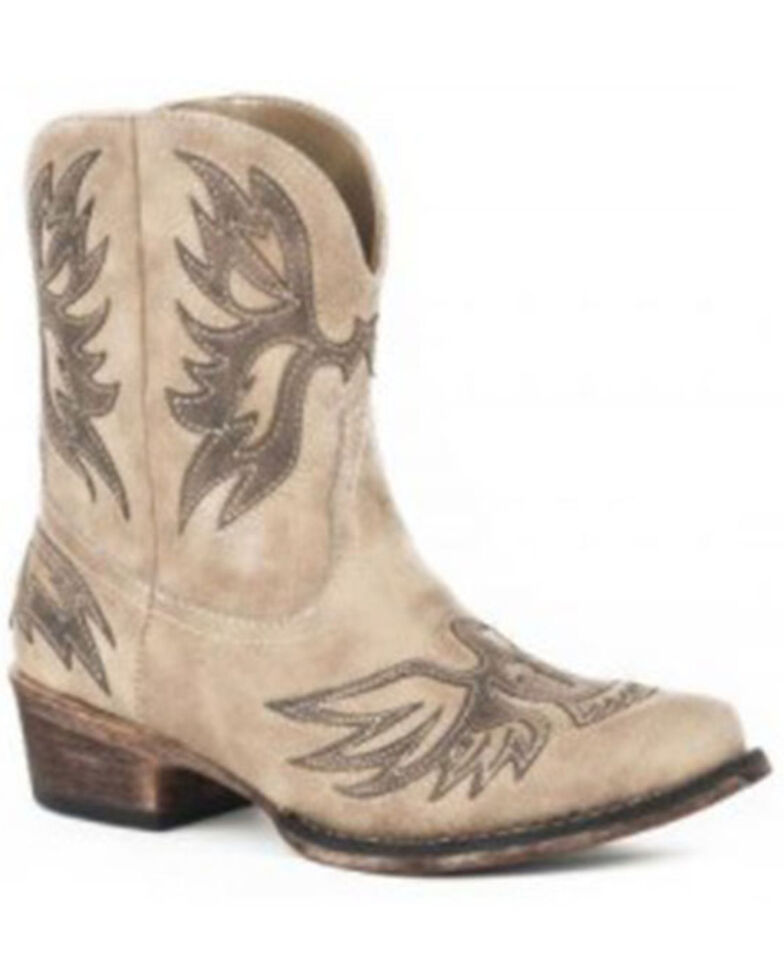 Roper Women's Amelia Western Booties - Snip Toe, Tan, hi-res