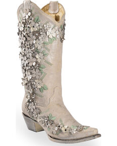 5b53207860d Corral Women s White Floral Overlay Embroidered Stud and Crystals Cowgirl  Boots - Snip Toe