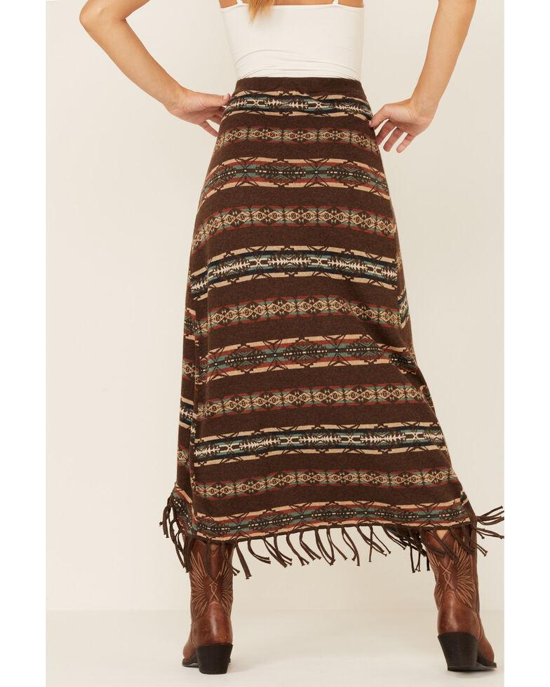Tasha Polizzi Women's Brown Fringe Maxi Folk Skirt, Brown, hi-res