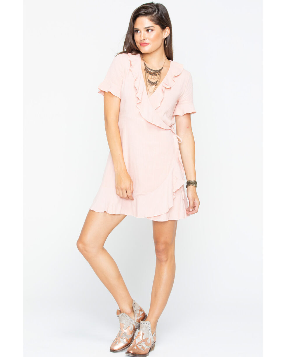 Sadie and Sage Women's Meredith Ruffle Dress , Peach, hi-res